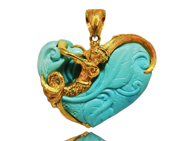 Ciondolo in oro giallo con turchese, il pendente è double face e unico in ogni suo dettaglio... - Mediterraneo Liberty-