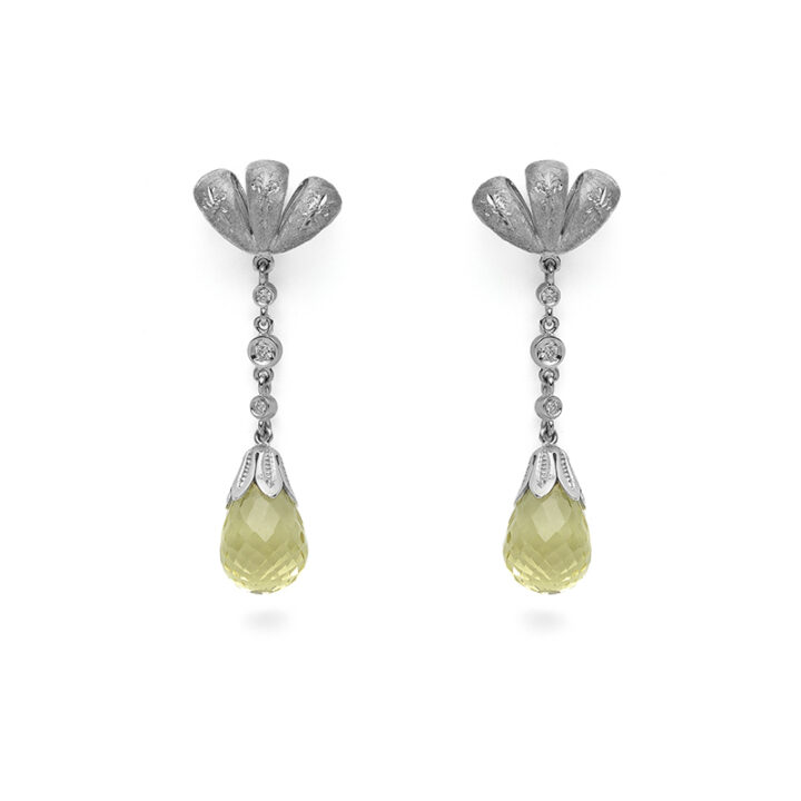 orecchini fiocco , in oro bianco con diamanti e quarzo lemon - rinascimentale fiorentino