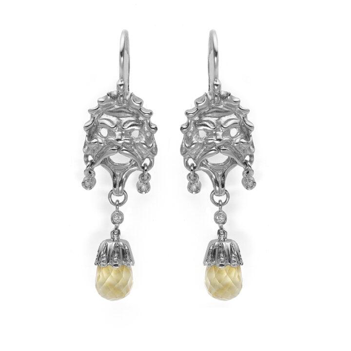orecchini in oro bianco con quarzo citrino e diamanti- Mediterraneo-