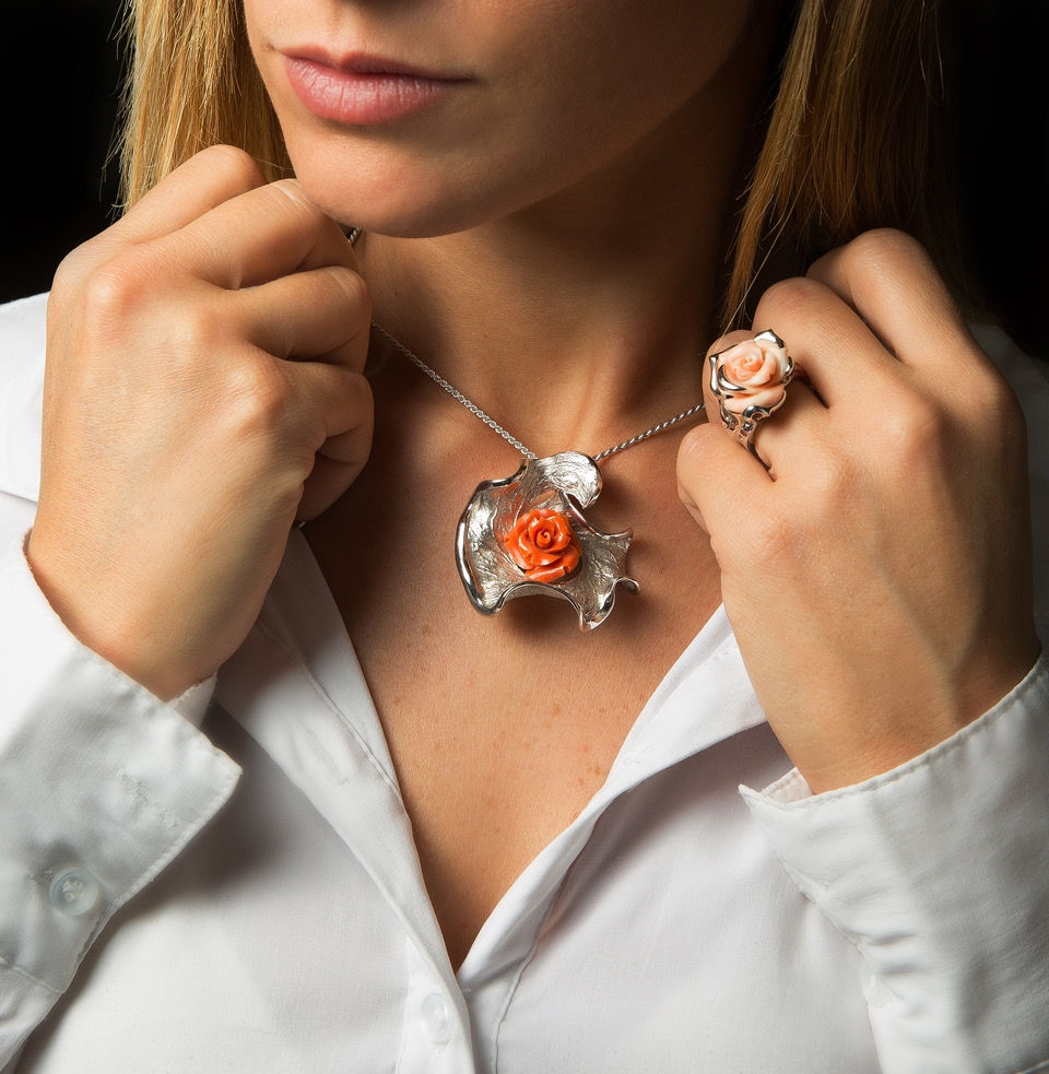 pendant with coral rose