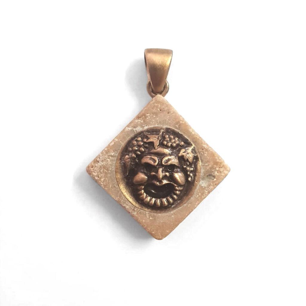 Ciondolo Bacco- bronzo anticato e travertino noce