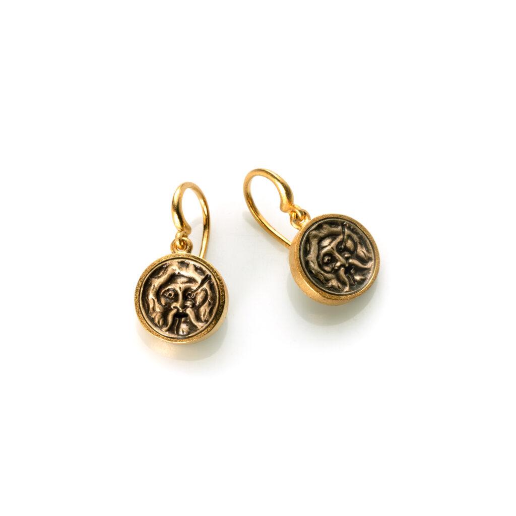 orecchini piccole bocche della verità- bronzo dorasto e ottone bianco anticato