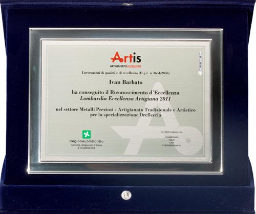 Premio Artis eccellenza artigiana metalli preziosi e oreficeria