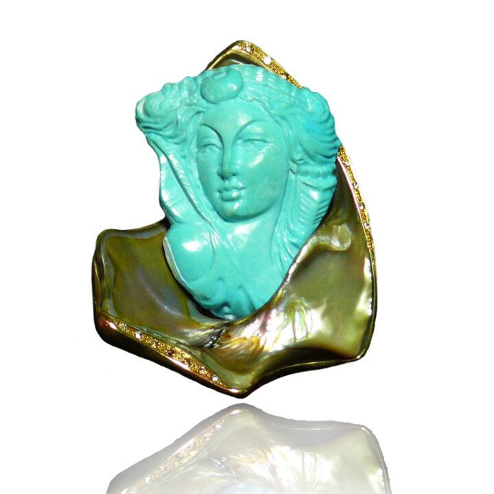 Spilla Dama in turchese
