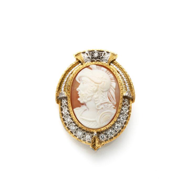 Spilla Cammeo Marte - oro giallo, oro bianco , diamanti e cammeo in conchiglia - stile rinasc. fiorentino